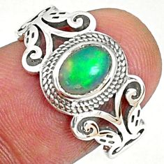 1.53cts natural ethiopian opal oval 925 silver solitaire ring size 7.5 r68590