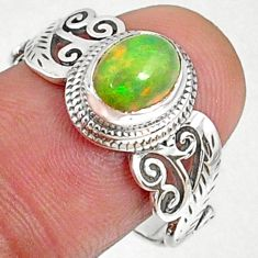 2.00cts natural ethiopian opal oval 925 silver solitaire ring size 8.5 r68648