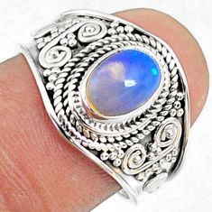 2.05cts natural ethiopian opal oval 925 silver solitaire ring size 7.5 r69020