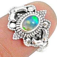 1.47cts natural ethiopian opal oval 925 silver solitaire ring size 7.5 r73429
