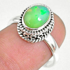 2.13cts natural ethiopian opal oval 925 silver solitaire ring size 7.5 r75358