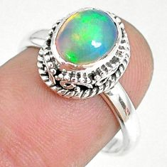 2.81cts natural ethiopian opal oval 925 silver solitaire ring size 7.5 r75375