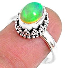 2.81cts natural ethiopian opal oval 925 silver solitaire ring size 8.5 r75401