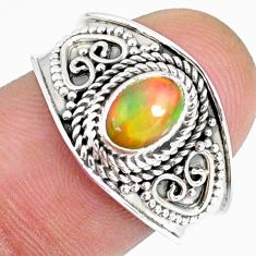 1.57cts natural ethiopian opal oval 925 silver solitaire ring size 8 r59035