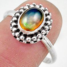 2.36cts natural ethiopian opal oval 925 silver solitaire ring size 9 r41449