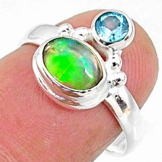 2.75cts natural ethiopian opal oval blue topaz 925 silver ring size 8 r65561