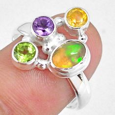 4.02cts natural ethiopian opal oval citrine amethyst silver ring size 8 r59201