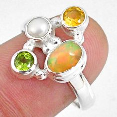 3.83cts natural ethiopian opal oval citrine pearl 925 silver ring size 8 r59210