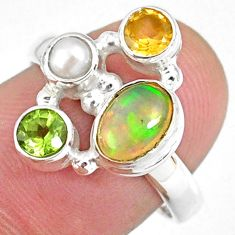 3.63cts natural ethiopian opal oval citrine pearl silver ring size 7.5 r59238