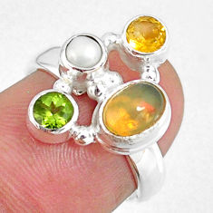 3.84cts natural ethiopian opal oval pearl citrine silver ring size 5.5 r59203