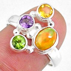 3.83cts natural ethiopian opal oval peridot 925 silver ring size 7.5 r59232