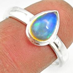2.21cts natural ethiopian opal pear 925 silver solitaire ring size 8 r26261