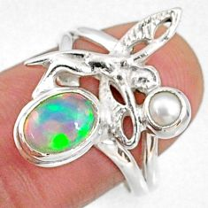 2.55cts natural ethiopian opal pearl 925 silver angel wing ring size 7.5 r65579