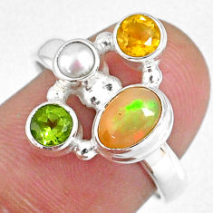 3.83cts natural ethiopian opal pearl citrine 925 silver ring size 7.5 r59188