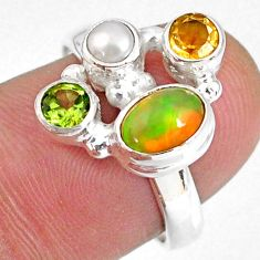 3.82cts natural ethiopian opal pearl citrine 925 silver ring size 7.5 r59195