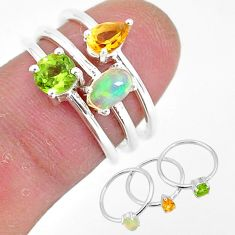 3.28cts natural ethiopian opal peridot 925 silver 3 rings size 6 r93033