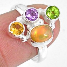 3.82cts natural ethiopian opal peridot citrine 925 silver ring size 7.5 r59182