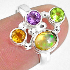 3.83cts natural ethiopian opal peridot citrine 925 silver ring size 6.5 r59198