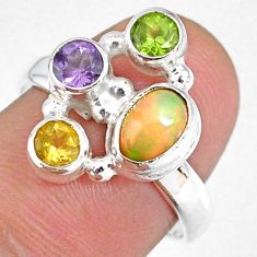 3.62cts natural ethiopian opal peridot citrine 925 silver ring size 7.5 r59202