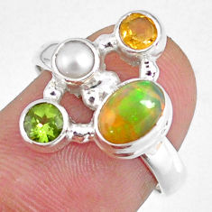 3.83cts natural ethiopian opal peridot citrine 925 silver ring size 7.5 r59211