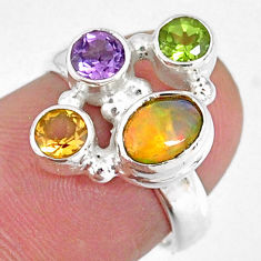 3.82cts natural ethiopian opal peridot citrine 925 silver ring size 5.5 r59212