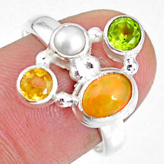 3.62cts natural ethiopian opal peridot citrine 925 silver ring size 7.5 r59221