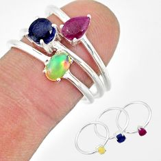 3.28cts natural ethiopian opal ruby sapphire 925 silver 3 rings size 8 r85171