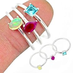 3.13cts natural ethiopian opal ruby topaz 925 silver 3 rings size 7.5 r85161