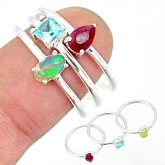 3.14cts natural ethiopian opal ruby topaz 925 silver 3 rings size 7.5 r85167