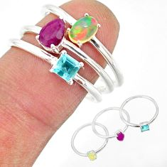 2.98cts natural ethiopian opal ruby topaz 925 silver 3 rings size 8 r85163