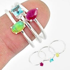 3.28cts natural ethiopian opal ruby topaz 925 silver 3 rings size 8 r85169
