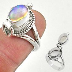 3.16cts natural ethiopian opal silver poison box ring jewelry size 6 t45372