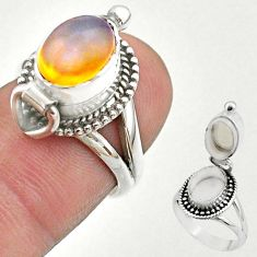 3.14cts natural ethiopian opal silver poison box ring jewelry size 6 t45397