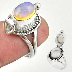 2.89cts natural ethiopian opal silver poison box ring jewelry size 6 t45400