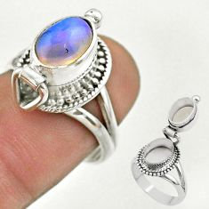 2.78cts natural ethiopian opal silver poison box ring jewelry size 7 t45378