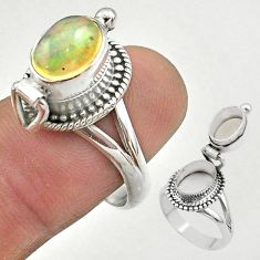 3.01cts natural ethiopian opal silver poison box ring jewelry size 8 t45363