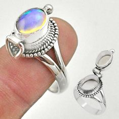 3.28cts natural ethiopian opal silver poison box ring jewelry size 9 t45362