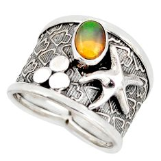 1.47cts natural ethiopian opal silver star fish solitaire ring size 6.5 d45934