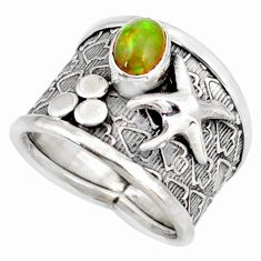 1.64cts natural ethiopian opal silver star fish solitaire ring size 7 d45916