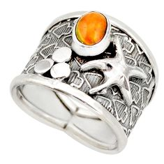 1.47cts natural ethiopian opal silver star fish solitaire ring size 7 d46411