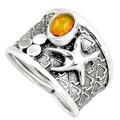0.99cts natural ethiopian opal silver star fish solitaire ring size 8 d45890