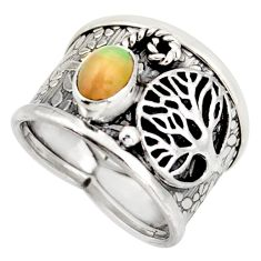 1.64cts natural ethiopian opal silver tree of life solitaire ring size 7 d45914