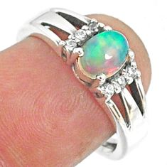1.96cts natural ethiopian opal topaz 925 silver solitaire ring size 7 r68516