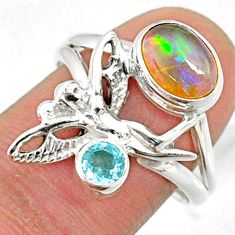 3.28cts natural ethiopian opal topaz silver angel wing fairy ring size 8 r65569