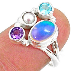 4.47cts natural ethiopian opal topaz white pearl 925 silver ring size 7 r65568
