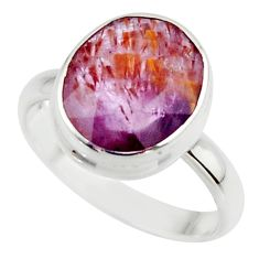 5.12cts natural faceted cacoxenite super seven 925 silver ring size 6.5 r42692