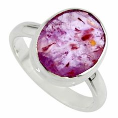 4.98cts natural faceted cacoxenite super seven 925 silver ring size 6.5 r42693