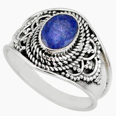 2.11cts natural faceted tanzanite 925 silver solitaire ring size 8.5 r60832