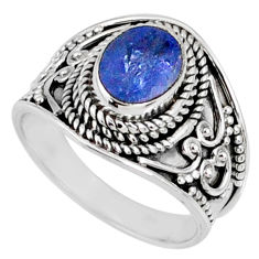 2.11cts natural faceted tanzanite 925 silver solitaire ring size 6.5 r60836