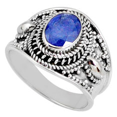2.20cts natural faceted tanzanite 925 silver solitaire ring size 7 r60831